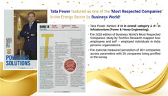 Tata Power Ranks as One of India's Most Respected